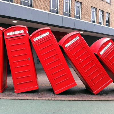 Falling telephone booths